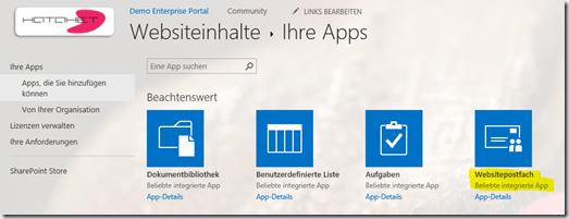01 SharePoint 2013 App Websitepostfach, Sitemailbox erstellen, Office 365, SharePoint Online (HATAHET)