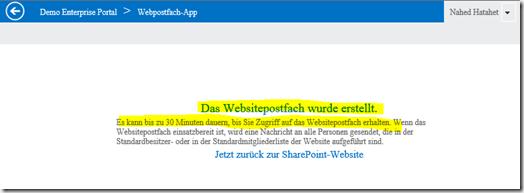 02 SharePoint 2013 App Websitepostfach, Sitemailbox erfolgreich erstellt, Office 365, SharePoint Online (HATAHET)