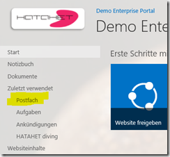 03 SharePoint 2013 App Websitepostfach, Sitemailbox in SharePoint Navigation, Office 365, SharePoint Online (HATAHET)