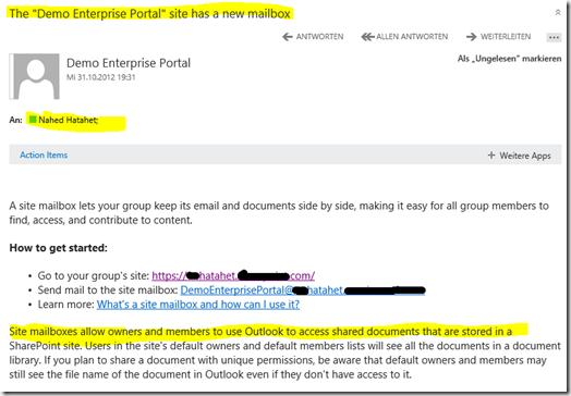 06 SharePoint 2013 App Websitepostfach, Welcome Mail für Benutzung, Office 365, SharePoint Online (HATAHET)