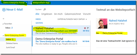 08 SharePoint 2013 App Websitepostfach, Postfach der Teamsite aus SharePoint Sicht, Office 365, SharePoint Online (HATAHET)