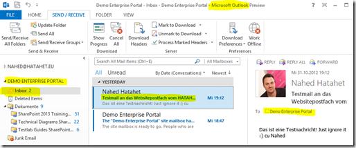 09 SharePoint 2013 App Websitepostfach, Postfach der Teamsite aus Outlook Sicht, Office 365, SharePoint Online (HATAHET)