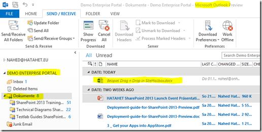 10 SharePoint 2013 App Websitepostfach, Dokumentenbibliothek von SharePoint in Outlook mit Drag n Drop File, Office 365, SharePoint Online (HATAHET)