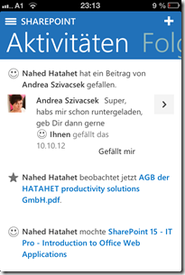 SharePoint 2013 Newsfeed App für Apple Devices, Social Collaboration (HATAHET) 004