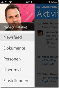SharePoint 2013 Newsfeed App für Apple Devices, Social Collaboration (HATAHET) 005