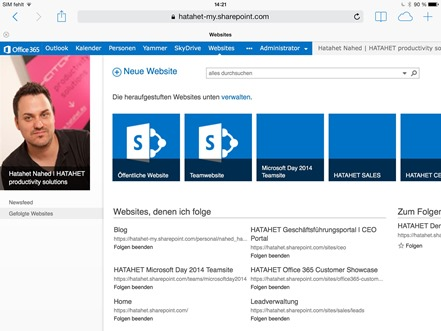 Office 365 SharePoint Online, SharePoint 2013, Apple Browser Integration Screenshot 1 (HATAHET)