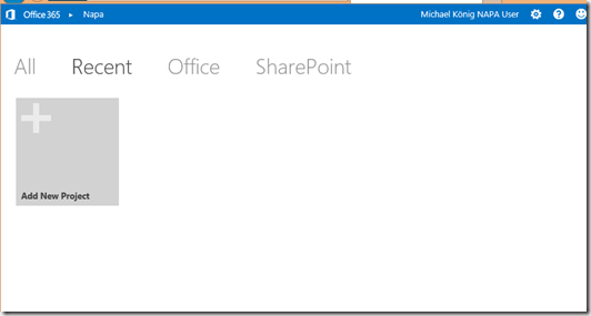SharePoint 2013 Bloglog, NAPA Add New Project