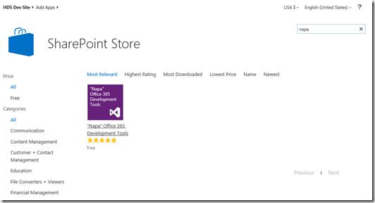 SharePoint 2013 Bloglog, SharePoint Store NAPA App