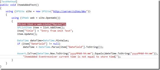 SharePoint 2013, Bloglog, Unit Test Code