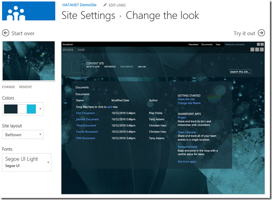 HATAHET SharePoint 2013 Demo Site Screenshot Teamsite Template Change the look 2 (HATAHET, Nahed)