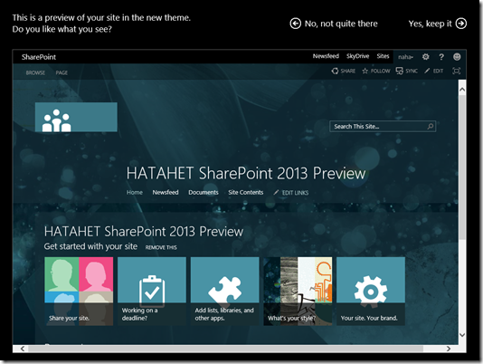 HATAHET SharePoint 2013 Demo Site Screenshot Teamsite Template Change the look, Preview (HATAHET, Nahed)