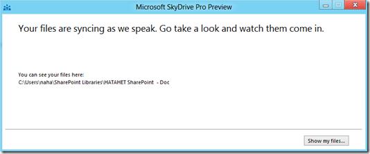 HATAHET SharePoint 2013 Preview, Sky Drive Pro Funktionalität, Sync 2 (HATAHET, NaHa)