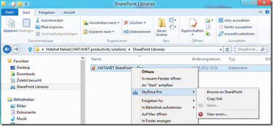 HATAHET SharePoint 2013 Preview, Sky Drive Pro Funktionalität, Sync 5, Windows 8 Kontextmenü (HATAHET, NaHa)