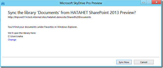 HATAHET SharePoint 2013 Preview, Sky Drive Pro Funktionalität, Sync (HATAHET, NaHa)