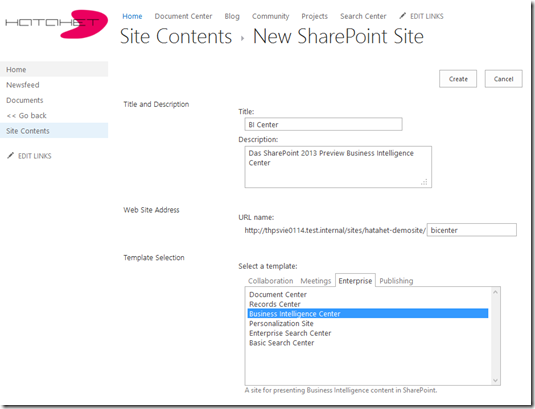 HATAHET SharePoint 2013 Budiness Intellignce Center, BI Center, Screenshot 7 (NaHa)