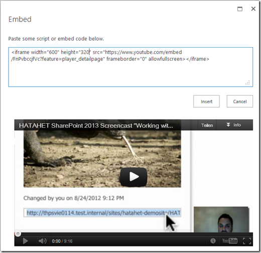 HATAHET SharePoint 2013 Preview, Arbeiten mit Embed Code, Screenshot03