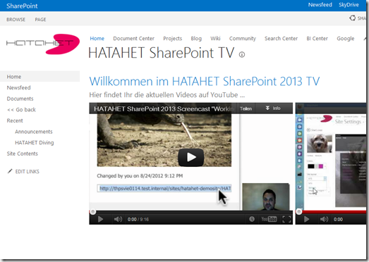 HATAHET SharePoint 2013 Preview, Arbeiten mit Embed Code, Screenshot04