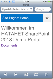 SharePoint 2013 Blog, Mobile Devices Support, Unterstützung, iPhone, Apple, Safari Screenshot01 (HATAHET)