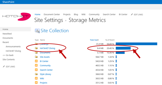 SharePoint 2013 Site Collection Site Settings, Neue Storage Metrics Funktion 2