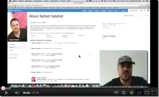 SharePoint 2013 Screencast Social Networking, MySite, Aboutme, Newsfeed, Follow, Like (HATAHET)