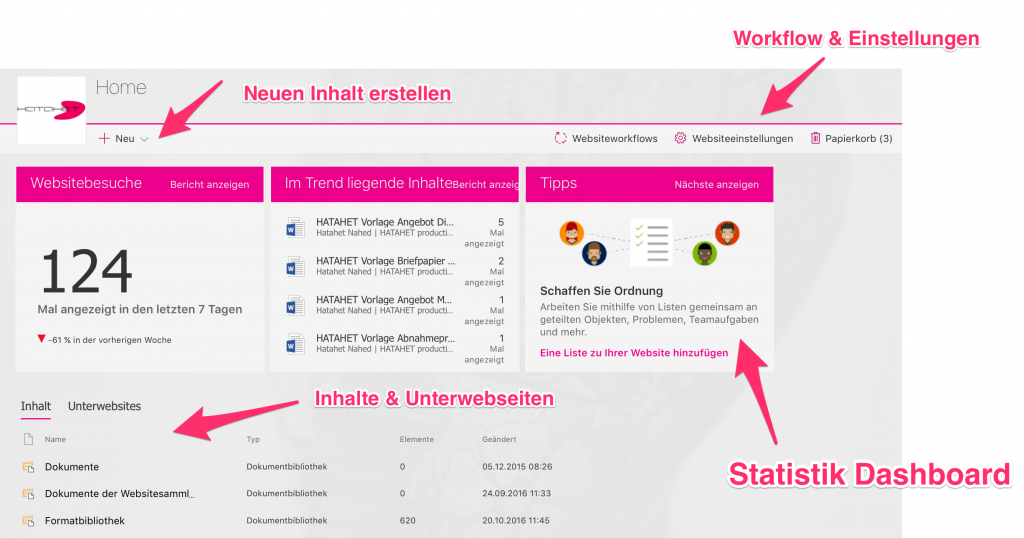 screenshot-office-365-sharepoint-online-neue-websiteinhalte-uebersicht-1