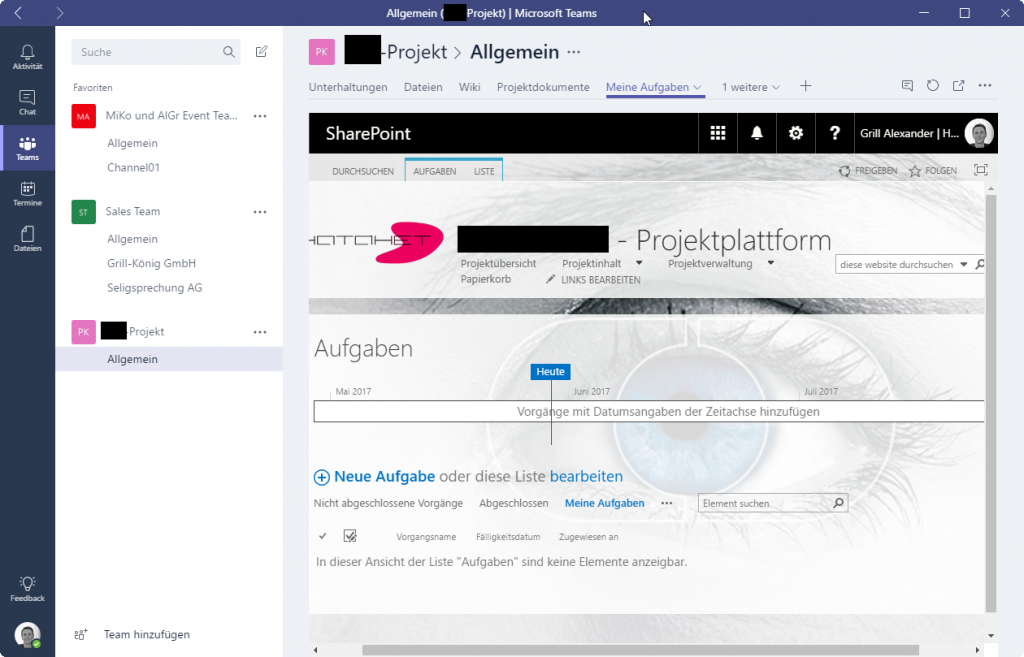 Microsoft Teams - Integrierte Website